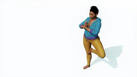 oversize: Overhead view of young adult curvy plus size african woman meditating in yoga tree pose hands in namaste on copy space white background 3D illustration Stock Photo