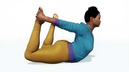 Giovane adulto curvy più l'yoga di pratica della donna afroamericana di dimensione nella posa dell'arco isolata sull'illustrazione bianca del fondo 3D
