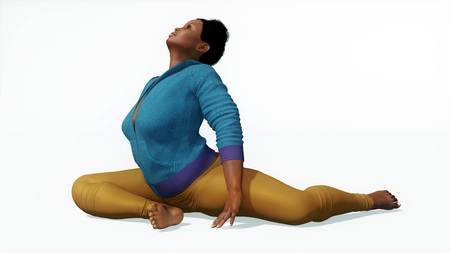 Young adult beautiful full-figured plus size african woman practicing yoga stretching exercise in easy pigeon pose on white background 3D illustration