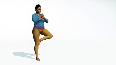 Young adult attractive and curvy plus size african woman practicing yoga standing in a tree position on copy space white background 3D illustration