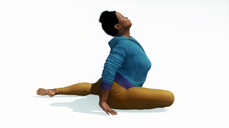 Young adult attractive full-figured plus size african woman doing stretching exercise in easy pigeon pose yoga isolated on white background 3D illustration Stock Photo