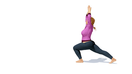 Young sporty full-figured plus size caucasian woman practicing yoga standing in warrior pose on copy space white background. 3D illustration from my own 3D rendering file.