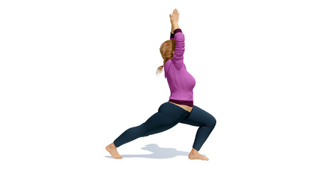Young adult active curvy plus size caucasian blonde woman practicing yoga standing in warrior position on white background. 3D illustration from my own 3D rendering file. Stock Photo