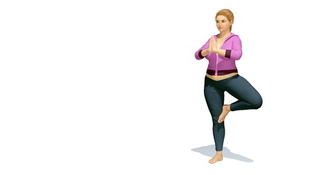 oversize: Young attractive and curvy plus size caucasian blonde woman practicing yoga standing in tree position on copy space white background. 3D illustration from my own 3D rendering file.
