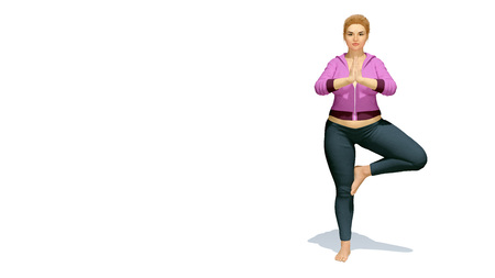 Young positive full-figured plus size caucasian blonde woman practicing yoga in  tree pose hands in namaste on copy space white background. 3D illustration from my own 3D rendering file.