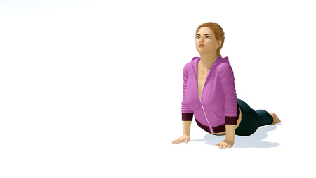 Young attractive plus size caucasian blonde woman practicing yoga in cobra or upward facing dog pose on copy space white background. 3D illustration from my own 3D rendering file. Stock Photo