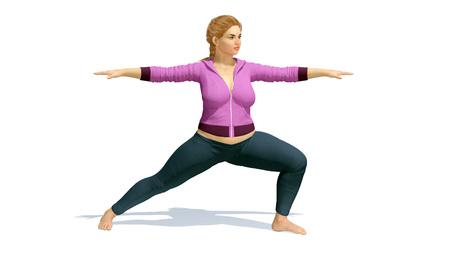 Jeune jolie et positive curvy plus taille femme blonde caucasienne pratiquant l'yoga en position de guerrier sur l'espace copie fond blanc. Illustration 3D de mon propre fichier de rendu 3D. Banque d'images