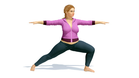 Young pretty and positive curvy plus size caucasian blonde woman practicing yoga in warrior position on copy space white background. 3D illustration from my own 3D rendering file. Stock Photo