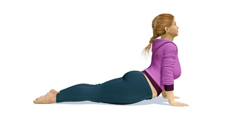 Young full-figured plus size caucasian blonde woman practicing yoga pose in cobra or upward facing dog position on white background. 3D illustration from my own 3D rendering file. Stock Photo