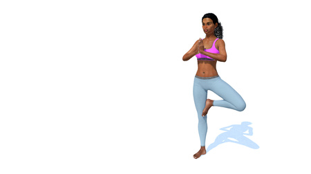 Young adult pretty sportive african woman practicing yoga standing in a tree position on copy space white background 3D illustration