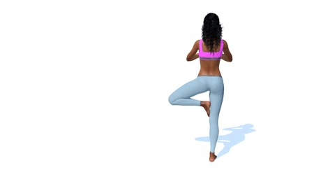 Back view of young adult sporty african woman meditating in yoga tree pose on copy space white background 3D illustration