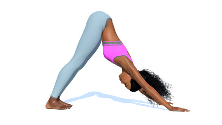 yogi: Young adult slim sporty african american woman practicing yoga pose in downward facing dog standing on white background 3d illustration