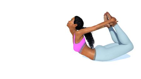 La vista laterale di giovane donna africana sportiva adulta che pratica i yoga dei backbends posa nella posizione dell'arco sul fondo di bianco dello spazio della copia. Illustrazione 3D dal mio file di rendering 3D.