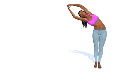 Young adult attractive slim african woman practicing yoga pose standing in half moon position on copy space white background. 3D illustration from my own 3D rendering file. Stock Photo