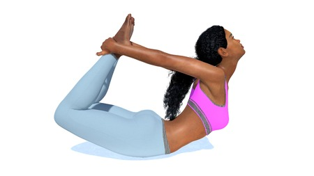 Young adult attractive sporty african american woman practicing backbends yoga pose in bow position isolated on white background. 3D illustration from my own 3D rendering file.