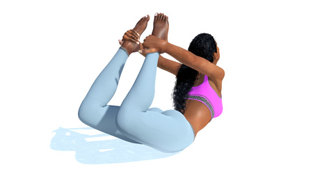Back view of young adult athletic slim african woman practicing backbends yoga pose in bow position isolated on white background. 3D illustration from my own 3D rendering file.