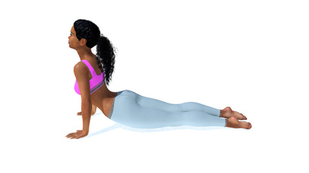 Young adult sportive slim african american woman practicing yoga pose in cobra or upward facing dog position on white background. 3D illustration from my own 3D rendering file. Stock Photo