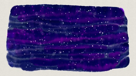 Abstract dark blue ink or wet watercolor stain with light glare on white textured paper background looking like starry night sky. Digital art painting for border frame design. Stock Photo