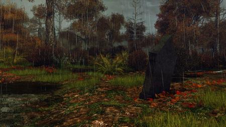 Old gravestone at abandoned overgrown cemetery among gloomy mystical autumn forest at dark rainy night. Halloween horror 3D illustration.