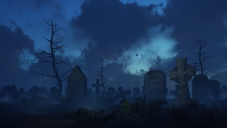Abandoned spooky cemetery with old celtic cross gravestone and fern thicket on foreground at dark misty night. Halloween horror 3D illustration.
