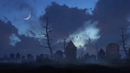 Abandoned spooky graveyard with old decaying tombstones at dark foggy night with half moon in sky. Halloween horror 3D illustration.