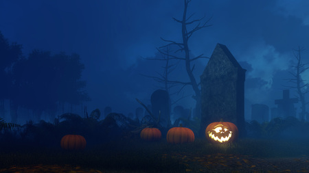 Abandoned spooky graveyard with Jack-o-lantern carved halloween pumpkin near old decaying tombstone at misty night. Fantasy 3D illustration. Stock Photo