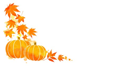 Corner frame of orange and yellow autumn leaves and pumpkin on abstract watercolor stains with copy space white background. Digital art painting for thanksgiving or fall season design. Stock Photo