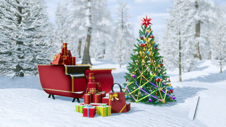 Outdoor decorated christmas tree and santa claus sleigh full of christmas gift boxes among snowy winter forest. Festive 3D illustration for Xmas or New Year holidays from my own 3D rendering file.
