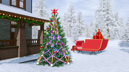 Yard of luxury country house decorated for Xmas holidays with christmas lights, fir tree, santas sleigh and snowy winter forest on background. Festive 3D illustration from my own rendering file. Stock Photo