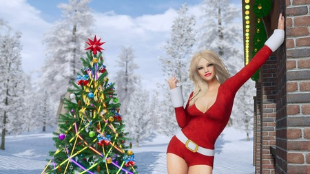 Attractive blonde girl in sexy Santa Claus suit and outdoor decorated christmas tree against snowy winter forest background. 3D illustration for Xmas or New Year holidays from my own rendering file.