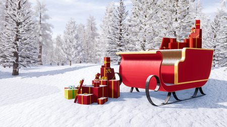 Santa claus sleigh full of christmas gifts among snow covered fir tree forest at sunny winter day. Fantasy 3D illustration for Xmas or New Year holidays from my own 3D rendering file.