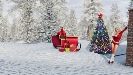 Sexy blonde girl in Santa Claus suit near house decorated for Christmas with illuminated fir tree, santas sleigh and snowy winter forest background. 3D illustration from my own 3D rendering file.