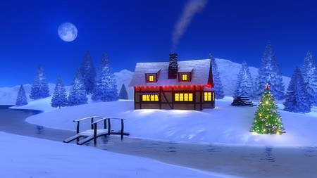 Cozy illuminated half-timbered mountain cabin with smoking chimney and decorated Christmas tree near frozen river at winter night with a full moon. 3D illustration from my own 3D rendering file.