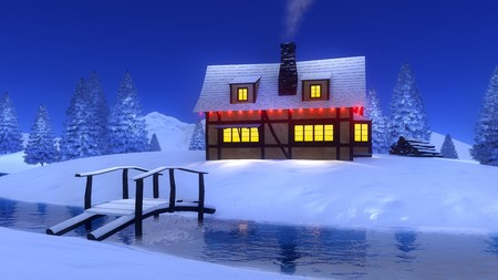 Wooden bridge over frozen river and cozy rural cabin decorated by christmas lights among snowy spruce forest at winter night. 3D illustration for Xmas or New Year holidays from my own rendering file.
