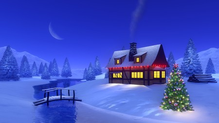 Illuminated house with smoking chimney and Christmas tree near frozen river among snowy forest high in mountains at winter night with a half moon. 3D illustration for from my own rendering file.