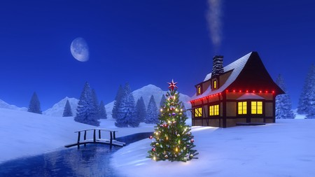 Wooden bridge over frozen river, decorated christmas tree and half-timbered cabin high in mountains at calm winter night. 3D illustration for Xmas or New Year holidays from my own rendering file. Stock Photo