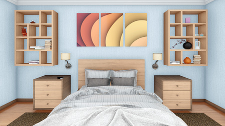 Close-up of a double bed in a modern bedroom interior 3D illustration
