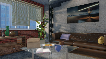 Minimalist Living Room With Sofas, Coffee Table And Big Window In A Loft  Interior Stock