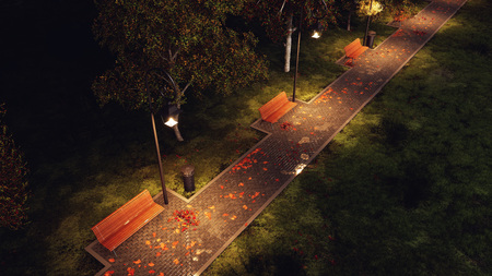 Overhead view of wet after rain park walkway lit by street lamps with empty benches, autumn trees and fallen leaves at dark autumnal night. 3D illustration from my own 3D rendering file. Stock Photo