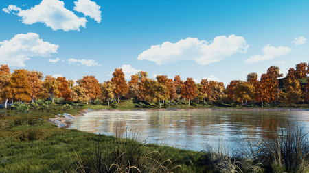 Serene autumn scene with scenic colorful trees on the shore of calm forest lake or pond at sunny day. With no people fall season 3D illustration from my own 3D rendering file.