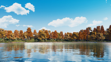 Calm forest lake or pond with scenic colorful autumn trees at the shore under bright daytime sky with clouds. Fall season landscape 3D illustration from my own 3D rendering file.