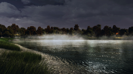 Mystical autumn landscape with dark trees on the shore of calm forest lake or pond at misty dusk. With no people 3D illustration from my own 3D rendering file. Banco de Imagens
