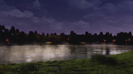 Mystic nighttime scene at the shore of calm lake or pond in a city park with dark trees silhouettes in the background under night sky. 3D illustration from my own 3D rendering file. Banco de Imagens