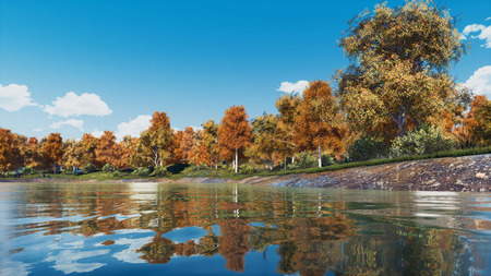 Tranquil woodland scenery with lush colorful autumn trees on the shore of calm forest lake or pond at clear autumnal day. With no people fall season 3D illustration from my own 3D rendering file.