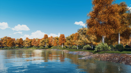 Peaceful autumn landscape with scenic colorful trees on the shore of calm forest lake or pond at daytime. With no people fall season 3D illustration from my own 3D rendering file.