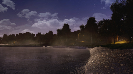 Shore of calm forest lake or pond with dark trees silhouettes in the background at foggy autumn night. With no people 3D illustration from my own 3D rendering file.
