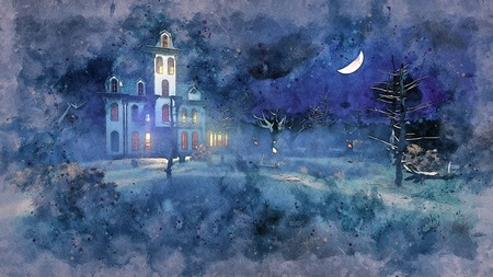 Watercolor sketch of scary haunted mansion with luminous windows surrounded by fantastic creepy trees under night sky with half moon. Grunge style digital illustration from my own 3D rendering file.