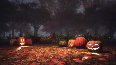 Scary Jack-o-lantern halloween pumpkins on a ground covered by fallen autumnal leaves in misty autumn forest at dusk or night. Fall season 3D illustration from my own 3D rendering file.