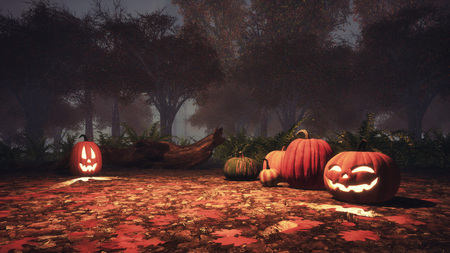 Jack-o-lantern carved halloween pumpkins among fallen autumnal leaves in foggy autumn forest at dusk or night. Fall season festive 3D illustration from my own 3D rendering file. Imagens