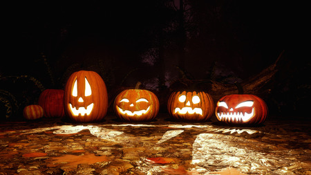 A few various funny Jack-o-lantern carved halloween pumpkins in haunted autumn forest at dark mystical night. Fall season festive 3D illustration from my own 3D rendering file. Stock Photo